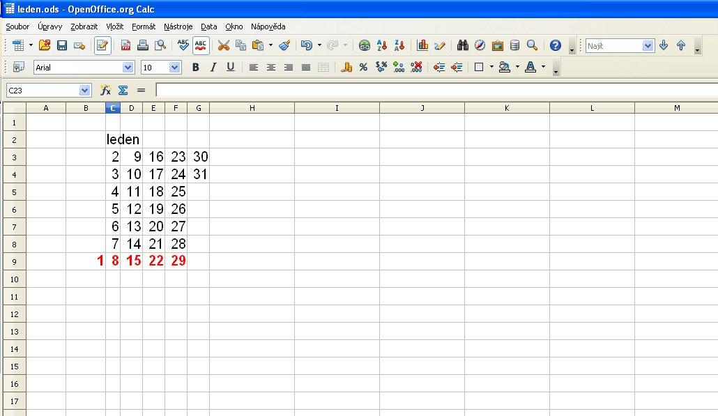 číselník pro kalendář