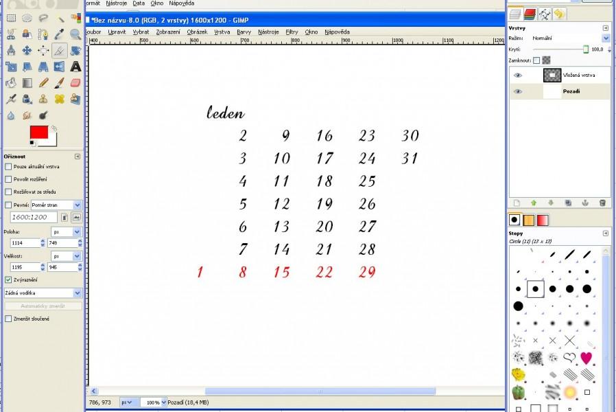 číselník kopírování do gimpu